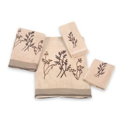 Avanti - Avanti Laguna Bath Towel in Linen - The wildflower embroidery of this towel collection will add the loveliness of natural beauty to your bathroom decor. Finished off perfectly with a textured fabric band with whip-stitched edges.