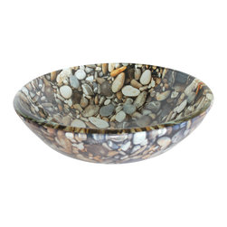 Natural Pebble Pattern Glass Vessel Sink - Natural Pebble Pattern Glass Vessel Sink