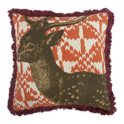 Thomas Paul - Menagerie Collection, Deer Pillow - If only it was possible to sew all the Thomas Paul pillows together into a sofa. It would be the most talked about sofa in town. All the bright colored fauna and flora, the patchwork of silk and linen--it would truly be a masterpiece. The only thing that keeps us from doing this is--we don't know how to sew. And then there is that business about somehow attaching legs. We're even more clueless on how to do that.