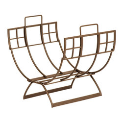 Achla - Roman Chair Log Holder in Bronze Finish - This elegant chair log holder features a solid wrought iron construction to securely hold your fireplace wood.  With a lovely,  Roman bronze finish, this holder has a bold, geometric pattern that will blend with any motif. * Roman Bronze finishWrought iron construction. 20.5 in. L x 14 in. W x 18 in. H