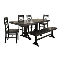 Walker Edison - Walker Edison 6-Piece Millwright Wood Dining Set in Black - Walker Edison - Dining Sets - C60W2BL - This charming dining set is the perfect addition to any dining room or kitchen. Set is designed to seat six, but with the self-contained butterfly leaf will easily accommodate larger gatherings or a growing family. Perfect for everyday use, these chairs provide comfort and stability. Constructed with beautiful solid wood, the sound construction will last for years to come.