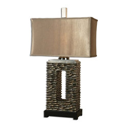 Uttermost - Uttermost Tarin Table Lamp in Aged Dark Bronze - Shown in picture: Aged Dark Bronze Finish With A Black Foot This lamp has an aged bronze finish and black foot - and is topped with a rectangular - coffee brown textile shade.