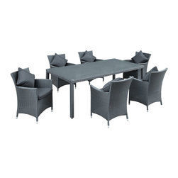 LexMod - Panorama 7 Piece Outdoor Patio Dining Set in Black Black - Take in the scenes with an elongated black rattan table and six black rattan chairs with black cushions. Fill your backyard with an elevated array of dishes, entrees and desserts as your company partakes. Entertain well with this nice, modern and functional set.