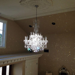 Custom Chandeliers - This spectacular Bohemian Crystal Chandelier in Swarovski Spectra Crystal shimmers in this grand foyer in a recently remodeled home in southern California. Product C1290CC in polished nickel, custom sized with 18 lights.
