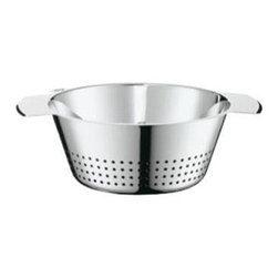 """Rosle - Rosle Conical Colander 3.6 qt. - For straining vegetables and pasta and for washing salads. Evenly distributed perforations over the side and base ensure quick and efficient drainage. Three burls in the base provide a steady rest position Made of pure, strong stainless steel, polished finish. Dimensions: 9.4"""" (24 cm) diameter x 4.1 in (10.5 cm) highCapacity: 3.6 qt.  (3,4 Liter). 5-year warranty."""