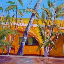 Yellow Wall & Palms (Original) by Lynda Pike - This painting was done in Cabo San Lucas and it reflects the sun and bright colors of the area. I have spent a lot of time in Cabo over the years which has probably influenced my art somewhat.