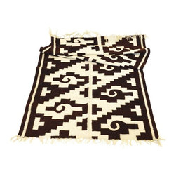 Used Vintage Mexican Native American Wool Runner - A genuine vintage Mexican handmade wool rug. This is more like a runner at 70 inches long and 36 inches wide. The rug is in excellent condition with an intricate Aztec design.  here is one inch of wool which has unwoven at one end. All end woven tassels are in tact and in perfect condition. It has several small insignificant stains on one end. See photos for details.
