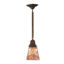 """Meyda Tiffany - Meyda Tiffany 29"""" Glasgow Bungalow Mini Pendant Light X-73194 - Inspired by the art and architecture of Charles Rennie Mackintosh, the Glasgow Bungalow Mini Pendant Light looks brilliant in any setting. A shade made of Amber-Mauve and Gold Stained glass makes up the detailed pattern design, suspended from mission-style hardware."""