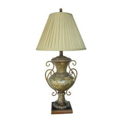 Absolute Decor - Bedside Lamps: 35 in. Garden Glade Hand Painted Table Lamp CVAQP178 - Shop for Lighting & Fans at The Home Depot. The Warm Hand Painted tones of this Urn-style Lamp are Accented with Unique Iron Arms. Topped with a Pleated Ivory Shade. The combination produces a Pleasing Traditional Statement in any home.