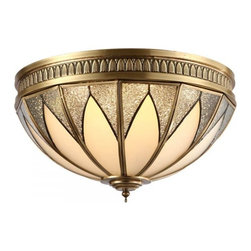ParrotUncle - Glass Shade Decorative Brass Flush Mount Ceiling Light, Small - Glass Shade Decorative Brass Flush Mount Ceiling Light