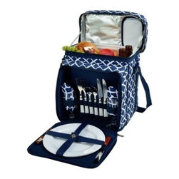 Picnic at Ascot - Picnic Cooler for Two, Trellis Blue by Picnic at Ascot - Our Picnic Cooler for Two in Trellis Blue by Picnic at Ascot includes combination corkscrew, cheese knife, acrylic wine glasses, coordinating melamine plates and napkins, stainless steel flatware. Includes hand grip & adjustable shoulder strap, extra front pocket. This fully equipped picnic cooler comes with divided Thermal Shield insulated cooler with separate sections for wine and food.