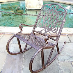 Oakland Living - Cast Aluminum Rocking Chair - Mississippi (An - Finish: Antique BronzeHigh-grade polyester powder coat finish. Durable, rustproof performance, even in coastal and harsh weather areas. Brass and stainless steel assembly hardware. Hardware ensures ensures sturdiness, durability and security for years. Long lasting finish maintains appearance for years to come. Minimal maintenance. Electrostatic application of the powder coat insures a smooth, even finish. Quick and easy assembly assured with step-by-step assembly instructions included. Double QC quality program in which each piece is assembled prior to being unassembled and packaged assures that all parts are present and that the product will assemble easily. Constructed of cast aluminum. Pictured in Antique Bronze. 24 in. W x 45 in. D x 40 in. H (42 lbs.)