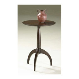 Butler - Sleek Leg Round Pedestal Table with Merlot Finish - This elegant table features a simple modern design that will go well with any home decor. Sleek legs are a contemporary touch, while also adding stability. The round top is spacious for storage or display. A deep merlot finish complete the look.