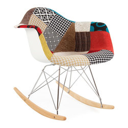 Vertigo Interiors USA - High Quality Eames Style RAR Rocking Arm Lounge Chair, Patchwork - The Eames Style RAR rocking arm chair has the iconic Eames style eiffel base paired with treated beech wood runners.  The Patchwork upholstery is a special edition, combining a number of different swatches of wool hand-stitched together.  This chair is exceptionally comfortable and is perfect for nurseries and dining rooms alike.