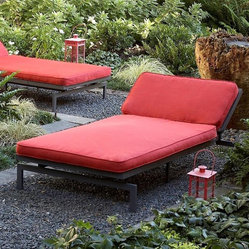 None - Alyssa Textured Crimson Adjustable Outdoor Chaise with Sunbrella Fabric Cushion - Bring the comfort and style of your living room outside with this sturdy outdoor chaise from Alyssa. Sit and enjoy the sun or lay it flat and watch the stars and simply unzip the stain and mildew resistant cover to remove it when it needs cleaning.