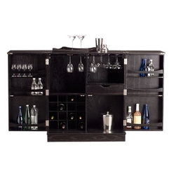 Steamer Bar Cabinet - This is an absolutely stunning bar cabinet. There is enough space to show off a variety of liquor and all of the glassware that goes with each drink. And the top can be used to display a sleek set of bar tools.