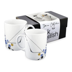 InkDish - Kites 2 Mug Gift Set - Dana Oldfather's first collection of dinnerware, Kites is a reflection of the aesthetic and design ideas most important in the artist's studio painting practice. Representing grace, motion and the environment, abstracted kite forms distinguish softer circle forms. Features: Features: -Set of 2 mugs. -Material: Porcelain. -Microwave safe. -Dishwasher safe. -Freezer safe. -Backstamp with mini artist biography. -Capacity: 14 oz..