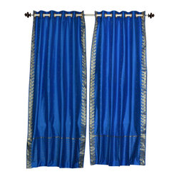 Indian Selections - Blue Ring Top  Sheer Sari Curtain / Drape / Panel   - 80W x 84L - Piece - Size of each curtain: 80 Inches wide X 84 Inches drop. Sizing Note: The curtain has a seam in the middle to allow for the wider length  Made from Polyester Sari fabric  Top: 2 Inch Ring Top. Can accommodate rods up to 1.5 inches diameter  Machine Wash