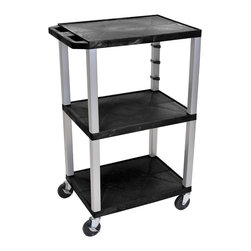 Luxor - H Wilson Presentation Cart - WT42-N - H Wilson's WT Tuffy multi-purpose carts are made of high density polyethylene structural foam injection molded plastic shelves and legs that will not chip, warp, crack, rust or peel. Shelves and legs can be recycled.
