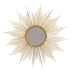 Gold Leaf Starburst Mirror - A glimmery gold starburst mirror with a braided trim around the mirror. The gold leaf has texture and a real sparkle to it, so that it shines like a star in the sky! This mirror is new, and has a hook on the back for easy hanging.