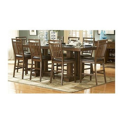 Homelegance - Everett 5-Pc Counter Height Dining Table Set - Includes table and four counterstools. Trestle base table. Bowtie inlay accents. Upholstered seat. Medium oak finish. Table minimum: 72 in. L x 36 in. W x 36 in. H. Table maximum: 96 in. L x 36 in. W x 36 in. H. Counterstool: 19.5 in. W x 21.75 in. D x 44 in. HCreate a casual feeling in your formal dining room with the classic Everett Collection. Arts and Crafts styling is used to add an air of tradition to this new dining concept.
