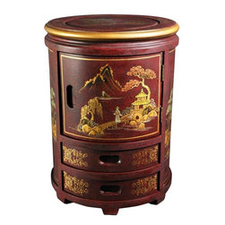Oriental Furniture - Japanese Stool - Red Landscape - A beautiful and functional accent which complements any room, this Japanese stool is hand-crafted of Elmwood and finished in a rich, clear lacquer. Each is individually hand painted, and exact details vary, making each a stunning and wholly unique accessory for the home that doubles as a decorative stand or circular end table with three compartments.