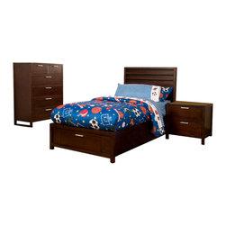 Alpine Furniture - Camarillo 3 PC Twin Platform Bedroom Set with Storage Footboard - Camarillo 3 PC Twin Platform Bedroom Set with Storage Footboard