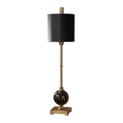 Joshua Marshal - Smoked Glass And Brushed Brass Amur Buffet Lamp With Cylinder Shade - Smoked Glass And Brushed Brass Amur Buffet Lamp With Cylinder Shade
