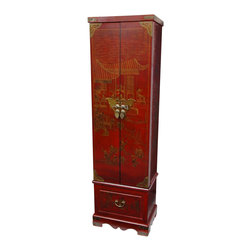 Oriental Furniture - Red Lacquer Floor Jewelry Armoire - This extra tall Oriental jewelry chest is finished in a lucky red lacquer. The hand-painted design features an elegant Ming courtyard and is accented with antiqued brass butterfly corners and a lacquered brass butterfly hasp.