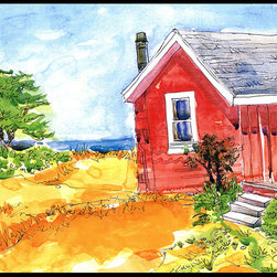 Caroline's Treasures - Old Red Cottage House At The Lake Or Beach Indoor Or Outdoor Mat 24X36 Doormat - Indoor / Outdoor Mat 24x36 - 24 inches by 36 inches. Permanently dyed and fade resistant. Great for the front door or the back door.  Use this mat inside or outside.    Use a garden hose or power washer to chase the dirt off of the mat.  Do not scrub with a brush.  Use the Vacuum on floor setting.  Made in the USA.  Clean stain with a cleaner that does not produce suds.