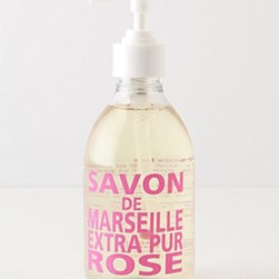 Anthropologie - Savon De Marseille Hand Soap - Key ingredients: water, glycerin, coconut oil, perfume10 fl ozFranceFig of Provence: sun-drenched figs united with cedar, vanilla, hyacinth and aniseWild Rose: essential oils from fresh-cut roses, infused with citrus, wood and muskFresh Verbena: invigorating verbena and summer citrus blended with hints of musk, vanilla and woodViolet: a rich, floral aroma, blended with subtle notes of musk and woodMediterranean Sea: a refreshing blend of white flowers, ripe citrus and subtle hints of musk over salty seas