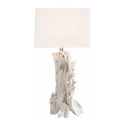 Arteriors - Arteriors Home - Bodega Lamp - 15408-394 - Collected driftwood is hand assembled and then painted white to create this unique table lamp. The square linen shade also has a top diffuser. 3-way switch.