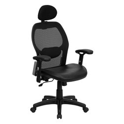 Flash Furniture - Flash Furniture High Back Super Mesh Office Chair w/ Black Italian Leather Seat - This mesh office chair will comfortably accommodate your needs as a office or home office chair. chair features a breathable mesh back with a comfortably padded seat. The silver accented back adds a touch of flair to highlight your work space. [LF-W42B-L-HR-GG]
