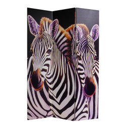 Six-Foot-Tall Zebra Canvas Room Divider - An expensive Chinese screen would be a grand takeaway, but why not infuse some wit using this screen with a large photograph of zebras on it?