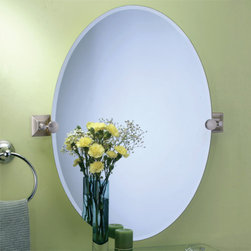 Meridian Oval Tilting Mirror - The Meridian Oval Tilting Mirror will add a stylish accent to any bathroom. The square mounting brackets feature a Satin Nickel finish, and you can complete the look with other pieces from the Meridian Collection.