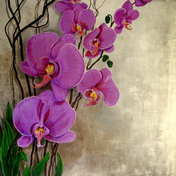 """""""Orchids"""" extra large Painting on canvas, 58""""x 58"""" - """"Orchids"""""""