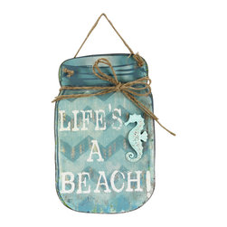 Young's - 'Life's a Beach' Mason Jar Wall Sign - Perfect for a seaside home, this well-spoken wood sign can be hung on the wall or set freestanding on a shelf or mantel for eloquence anywhere.   9.5'' W x 15'' H x 1'' D Tin Imported