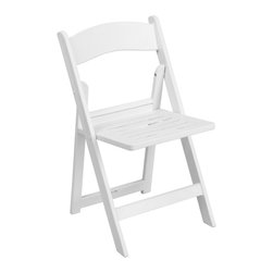 Flash Furniture - Flash Furniture Folding Chairs Resin Folding Chairs X-GG-TALS-HW-1-L-EL - This HERCULES Series Folding Chair features a 1000 lb. weight capacity so that you can be assured that it will accommodate any function. From indoor or outdoor weddings to other upscale events, this resin folding chair will never let you down. Flash Furniture's elegant white folding chair will provide an excellent solution for all your event planning needs. [LE-L-1-WH-SLAT-GG]