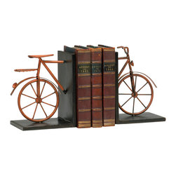 Kathy Kuo Home - Antique Red Rustic Metal Bicycle Decorative Bookends - Perfect for the cycling enthusiast or vintage toy collector, this cheerful and functional set of bookends will make a welcome addition to libraries, home offices, living rooms and more.