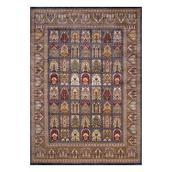 Rugsville - Rugsville Kashmir Panel Red Ivory   Silk Rug 11003-9x12 - Kashmir carpet is single knot weave for softness.The Carpet colors are more jewel tones. Natural dyes are used for coloring the yarn. At the center of the field of this exquisite rug is a medallion in a concentric circle motif. The most popular design of these carpets is medallion carpet.The single knot pile is less resistant to touch and pressure. All the carpet are quite unique in themselves. Each piece a master pieces others by their color-way and other details. Colors of the rug red and blue.