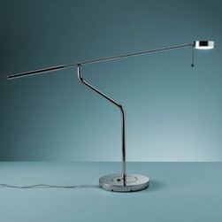 FontanaArte - 360 Desk Lamp by FontanaArte - The 360 Desk Lamp, by FontanaArte, a Foster and Partners design, is an intelligent desk lamp designed with hinged directional abilities to expertly perform task-lighting functions. One hinge on the arm and one on the shaft each rotates 300 degrees. The 360 Desk Lamp is an ideal modern lighting solution to ease detailed tasks such as reading. Renowned Italian architect, designer and painter Gio Ponti founded FontanaArte in 1932 as the artistic division of glassmaker Luigi Fontana. Ponti used Fontana glass to design lighting filled with his own visionary brand of sensuous, poetic modernism. Today, more than 75 year later, the innovative artists at FontanaArte continue Ponti's legacy, creating expressive and transformative modern lighting designs.
