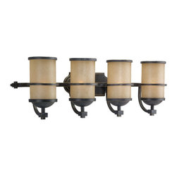 Seagull - Seagull Roslyn Bathroom Lighting Fixture in Flemish Bronze - Shown in picture: 44523-845 Four Light Wall/Bath Fixture in Flemish Bronze finish with Creme Parchment Glass