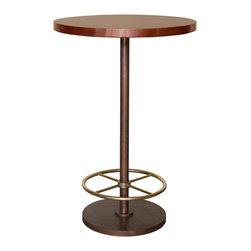 """Bistro Bar Table with Copper Top & Brass Footrest (Round) - Bistro Bar Table with Copper Top (Round) (Small). Style no: BA71561. 28""""dia x 42""""h."""