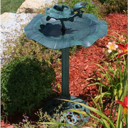 Alpine - Alpine Bird on a Leaf Bird Bath - TEC108 - Shop for Garden Bird Baths from Hayneedle.com! Attract birds with this unique two-tiered bird bath. Made of durable resin the Bird on a Leaf Bird Bath is both beautiful and functional. Standing almost three feet tall this bath enchants the viewer with both levels. The upper level has an appealing bloom with a leaf extending that the bird figure alights on and the lower bowl suggests a leaf of a water plant. You can be sure this charming bath will last because the durable resin material holds up to all weather conditions.Make this an attractive part of your garden decor.About Alpine CorporationAlpine Corporation has offices in Arizona Colorado Florida Iowa and Ohio. With a firm belief in the free enterprise system Alpine Corporation promotes equal treatment for customers employees shareholders suppliers and the community. Alpine Corporation carries a vast array of items including fountains pond and garden accessories and statuary and carries lighting and parts as well. A steadfast goal for Alpine Corporation is to continually exceed their customers' increasing expectations.