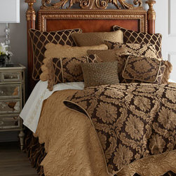 """Isabella Collection by Kathy Fielder - Isabella Collection by Kathy Fielder Queen Damask Duvet Cover, 92"""" x 98"""" - Could Isabella Collection by Kathy Fielder have chosen a more luxurious color palette for """"Dubois"""" bed linens? We don't think so. The chocolate and gold collection is made in the USA of imported fabrics. Dry clean. Damask and ogee-patterned linens are...."""