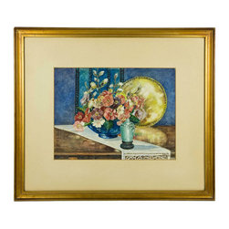 Lavish Shoestring - Consigned Art Deco Interior w/ Still Life of Flowers, Watercolour Painting - This is a vintage one-of-a-kind item.