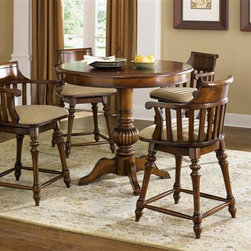 Liberty Furniture - Liberty Furniture Crystal Lakes 5 Piece Pub Set in Toffee Finish - Crystal Lakes Dining offers a relaxed country charm. Dress it up or keep it more casual with table linens. Table options abound with this collection so there is a choice for a small kitchenette area or a dining room.Collection Features: Swivel BarstoolsNylon Chair GlidesDistressed FinishBarstools Available in Two Finishes