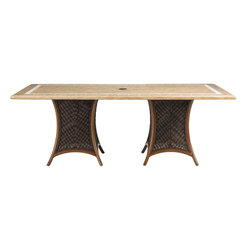 Lexington - Tommy Bahama Island Estate Lanai Double Pedestal Table Base - The rectangular dining table tops require greater support for their size and weight which is assuredly achieved with the double pedestal. woven and shapely design of the base. The distance allows room for the umbrella base to support shade while dining.
