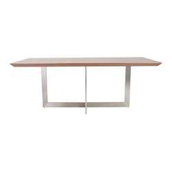 Euro Style - Euro Style Tosca Dining Table 38620SS-A/38620WAL-B - Almost 80 inches wide, Tosca can easily accommodate 10 diners. The generously proportioned top is supported by two intersecting rectangles that create a shape too interesting to call table legs.