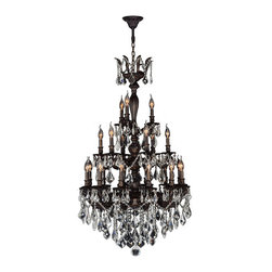 "Worldwide Lighting - Versailles 21 Light Flemish Brass Finish Crystal Chandelier 29"" x 50"" Three Tier - This stunning 21-light Chandelier only uses the best quality material and workmanship ensuring a beautiful heirloom quality piece. Featuring a cast aluminum base in Flemish Brass finish and all over clear crystal embellishments made of finely cut premium grade 30% full lead crystal, this chandelier will give any room sparkle and glamour. Worldwide Lighting Corporation is a privately owned manufacturer of high quality crystal chandeliers, pendants, surface mounts, sconces and custom decorative lighting products for the residential, hospitality and commercial building markets. Our high quality crystals meet all standards of perfection, possessing lead oxide of 30% that is above industry standards and can be seen in prestigious homes, hotels, restaurants, casinos, and churches across the country. Our mission is to enhance your lighting needs with exceptional quality fixtures at a reasonable price."